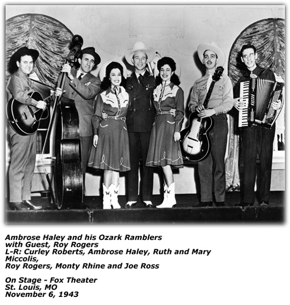 Ambrose Haley and Ozark Ramblers with Roy Rogers - November 6, 1943