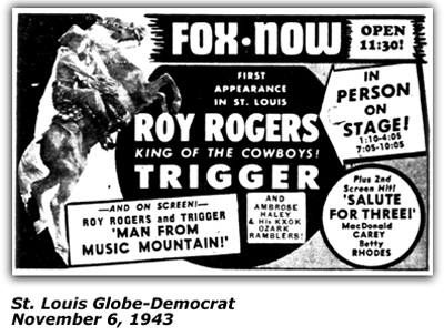 Roy Rogers - Promontional Ad - November 6, 1943