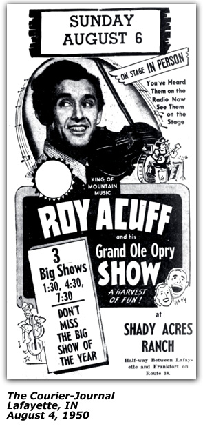 Shady Acres Ranch Promo - Roy Acuff - August 1950