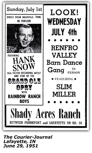 Shady Acres Ranch Promo - Hank Snow - June 1951