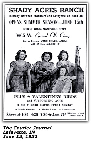 Shady Acres Ranch Promo - Carter Sisters with Mother Maybelle - June 1952