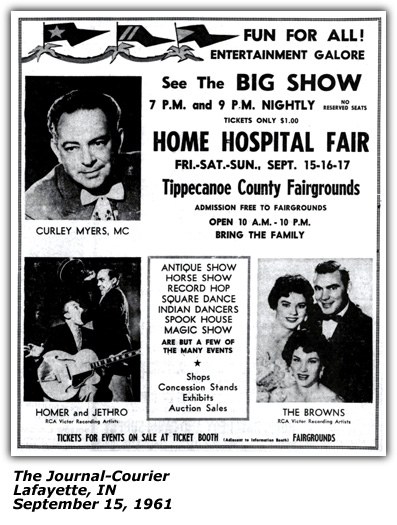Home Hospital Fair Promo - Curley Myers, Homer and Jethro, The Browns - September 1961