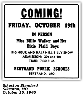 Promo Ad - Billie Walker and Her Dixie Plaid Boys - Bertrand MO - Oct 1945