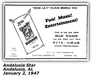 Promo Ad - WCTA - Billie Walker and her Dixie Lily Boys - January 2 1947