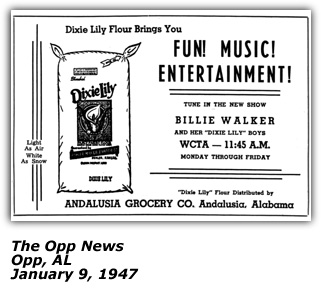 Promo Ad - WCTA - Billie Walker and her Dixie Lily Boys - January 9 1947