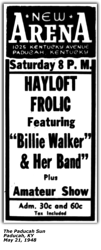 Promo Ad - Billie Walker and her Band - Paducah KY - May 21 1948