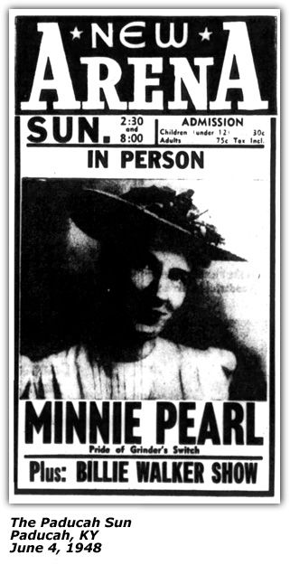 Promo Ad - Billie Walker and her Band - Minnie Pearl - Paducah KY - June 4 1948