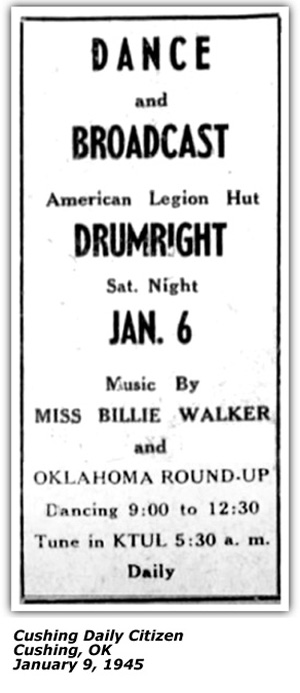 Promo Ad - Miss Billie Walker and Oklahoma Roundup - KTUL - January 1945