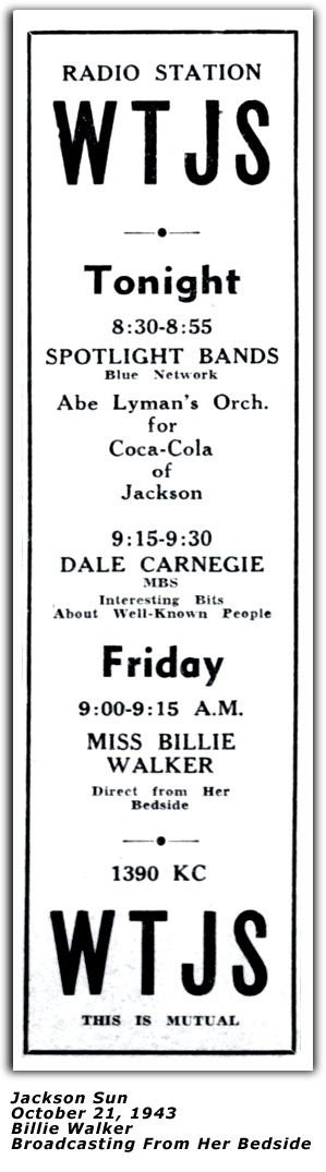 Promo Ad - WTJS - Miss Billie Walker Broadcasting From Her Bed - October 1943