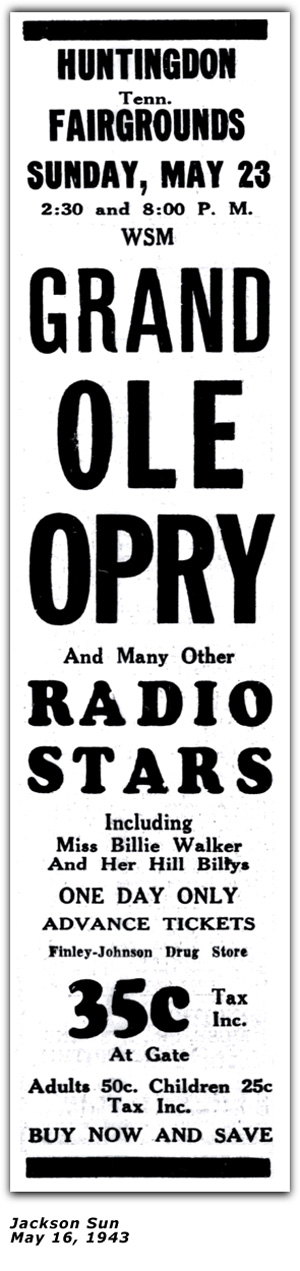 Billie Walker - Ad - Grand Ole Opry Show - May 16, 1943