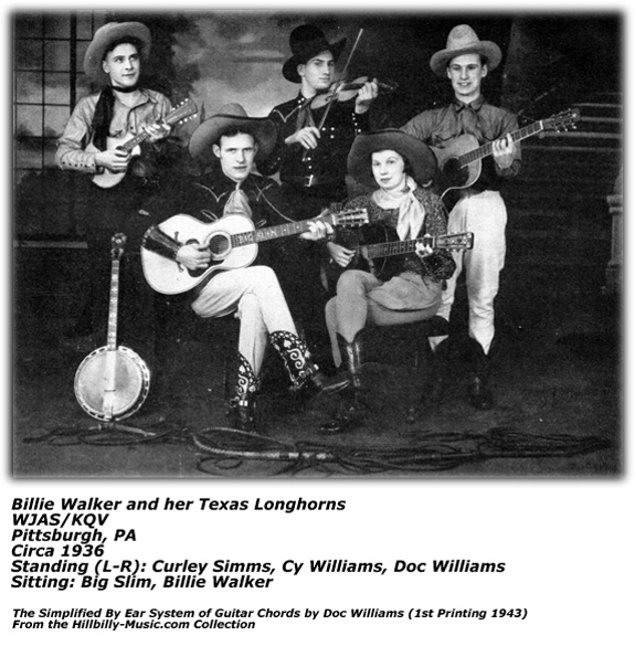 Billie Walker and her Texas Longhorns - Doc Williams - Cy Williams - Curley Simms - WJAS/KQV 1936