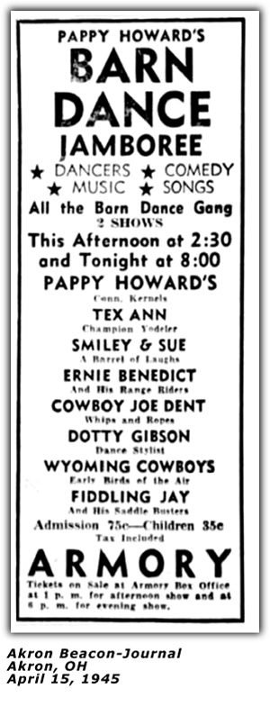 Pappy Howard Barn Dance Jamboree Akron April 15 1945 Ad