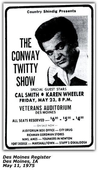 Promo Ad - Conway Twitty with Cal Smith and Karen Wheeler - Des Moines, IA - May 1975