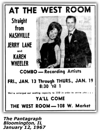 Promo Ad - Karen Wheeler and Jerry Lane - West Room - Bloomington IL - January 1967