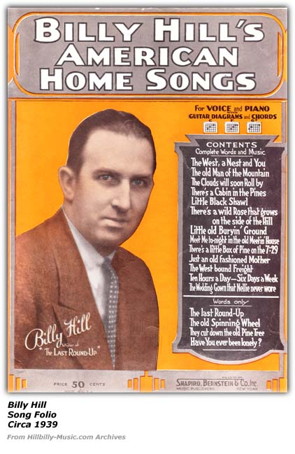 Billy Hill Song Folio - 1939