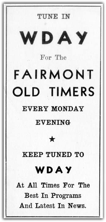 Fairmont Old Timers Ad