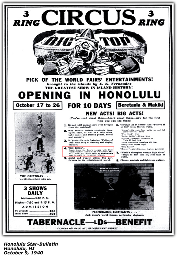 Circus Opening in Honolulu Promotional Ad October 1940