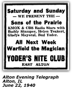 Yoder's Nite Club Ad - Sons of the Prairie, Buddy Stamper, Helen Teakert, Bud Yoder, Gladys Mayoral - June 1940
