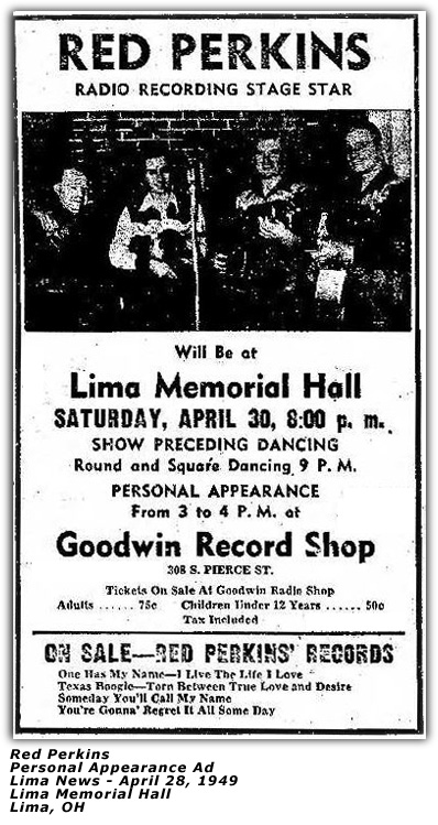Red Perkins - Lima Memorial Hall - April 1949