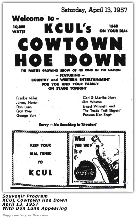 KCUL Cowtown Hoe Down Program with Don Lunn