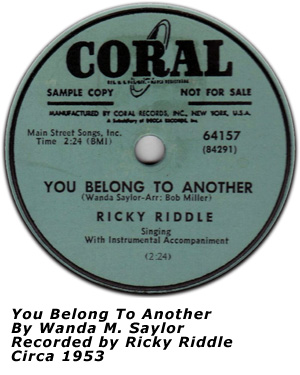 You Belong To Another - 1953 - Coral Records 64157 - Ricky Riddle