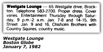 Chisholm Brothers Promo - Westgate Lounge - Brockton, MA - 1982