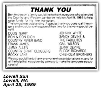 Lowell MA Benefit Concert Thank You - April 1989