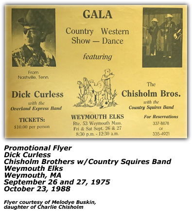 Promo Flyer - Dick Curless and Chisholm Brothers - Weymouth Elks - 1975