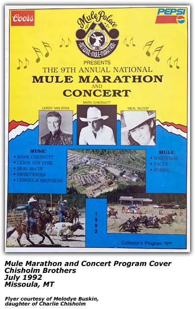 Promo Ad - Mule Marathon and Concert - Chisholm Brothers - 1992