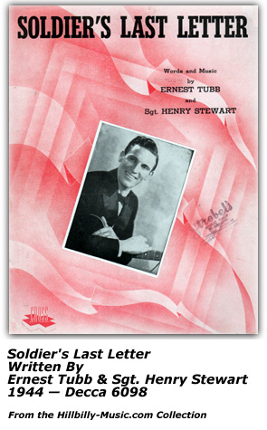 Sheet Music - Ernest Tubb and Soldier's Last Letter