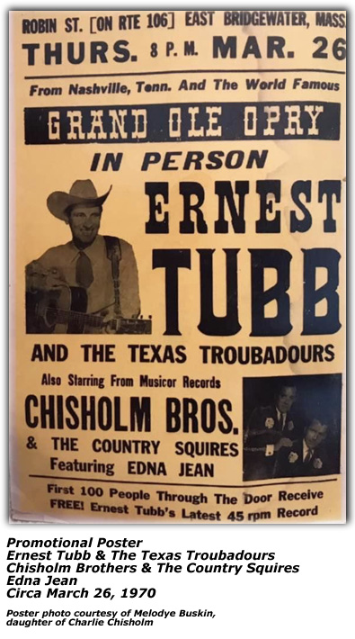 Ernest Tubb Concert Poster - March 26, 1970 with Chisholm Brothers at Casa Loma Lounge