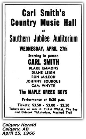 Carl Smith Dianne Leigh Maple Creek Boys - Country Music Hall - Calgary Show April 1966