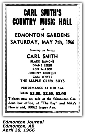 Carl Smith Dianne Leigh Maple Creek Boys - Country Music Hall - Edmonton Show April 1966