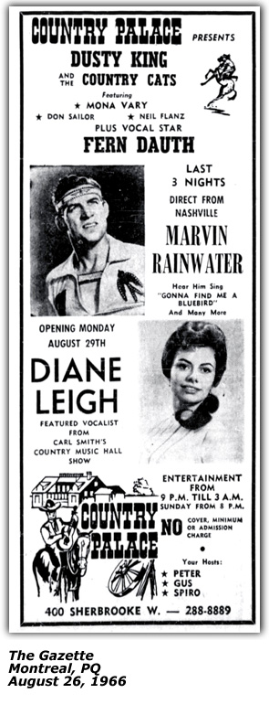 Promo Ad - Country Palace - Montreal - Dianne Leigh - August 26 1966