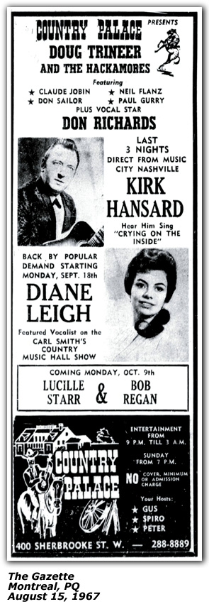Promo Ad - Country Palace - Montreal - Dianne Leigh - August 15 1967