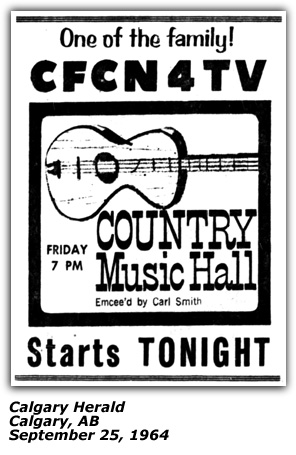 Calgary Herald - Sept 1964 - Ad for Country Music Hall