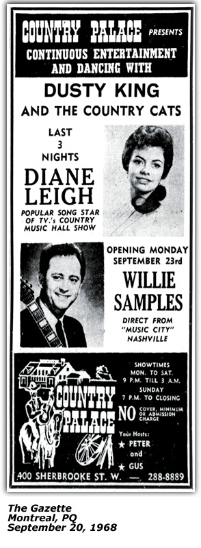 Promo Ad - Country Palace - Montreal - Dianne Leigh - September 20 1968