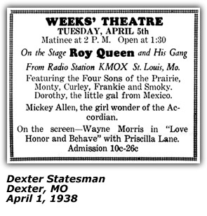 Theater Ad (Dexter MO) - Four Sons of the Prairie - April 1938