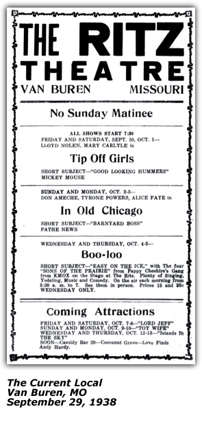 Ritz Theater Ad - Van Buren MO - Four Sons of the Prairie - Sep 1938