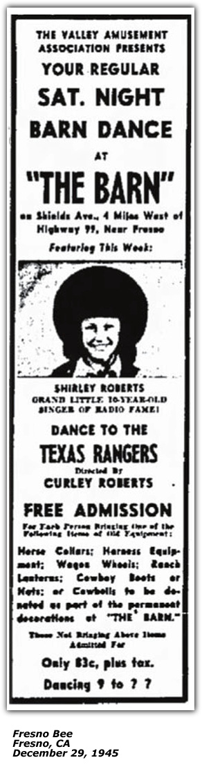 Promo Ad - The Barn - Texas Rangers, Curley Roberts, Shirley Roberts - Dec 29 1945