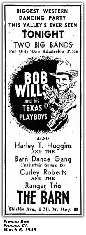 Promo Ad - The Barn - Bob Wills and his Texas Playboys, Harley T. Huggins, Curley Roberts - March 1948