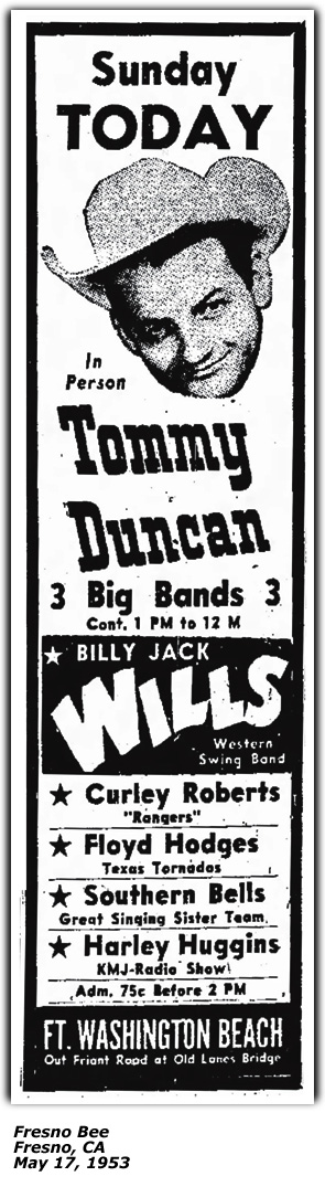 Promo Ad - Ft. Washington Beach - Tommy Duncan, Curley Roberts, Floyd Hodges, Harley Huggins - May 1953