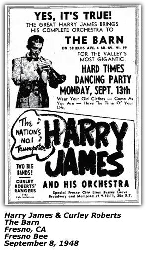 Promo Ad - The Barn - Harry James, Curley Roberts - Sep 1948