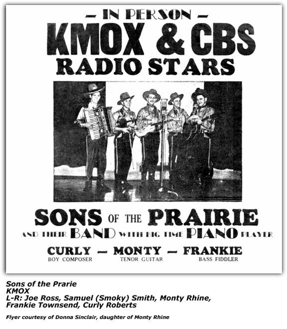 Promo Flyer - Four Sons of the Prairie - KMOX - late 1930s