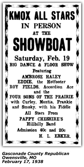 Showboat Ad KMOX Stars - Four Sons of the Prairie - Feb 1938