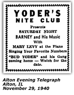 Yoder's Nite Club Ad - Bud Yoder - Coming Home Soon - Nov 1940