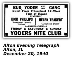 Yoder's Nite Club Ad - Dickie Phillips, Helen Teakert - Dec 1940